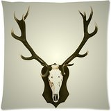 Custom Fashion Deer Head with Antlers Zippered Throw Pillow Cover Cushion Case 16x16 (one side)