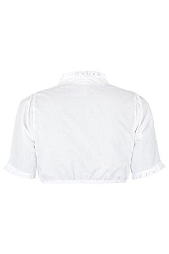 Damen Trachten Stoiber Dirndlbluse weiß Stehkragen, weiß, Weiß