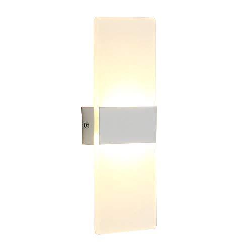 (ETiME 12W LED Wandleuchte Acryl Wandlampe warmweiß modern Design Nachttischlampe Home Corner Dekorative Beleuchtung ideal für Schlafzimmer Wohnzimmer Treppe Flur und Eingang (12W 29x11cm Warmweiß))