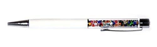 Qualità-Penna a sfera con cristalli Swarovski, motivo arcobaleno Crystals. con 2 cartucce incluse, colore: Argento bianco