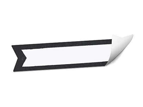 Wimpel Aufkleber blanko   24 Freitext Etiketten selbstklebend zum selbst beschriften   Weiß Schwarz Schultafel Design   MATTE Papieraufkleber für Marmelade, Hochzeit Gastgeschenke oder Namensschilder (Leer Namensschild)