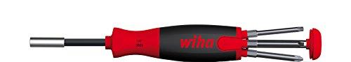 """Wiha Schraubendreher mit Bit Magazin LiftUp 70 magnetisch gemischt mit 6 Bits, 1/4"""" (38589), Bits im Griff, langlebig, universell, Bitsatz, Bithalter, platzsparend, kompakt, stabil"""