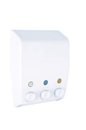 Wenko Dispensador de Gel 0.45 L, Blanco, 8x19x25 cm, 3 Unidades
