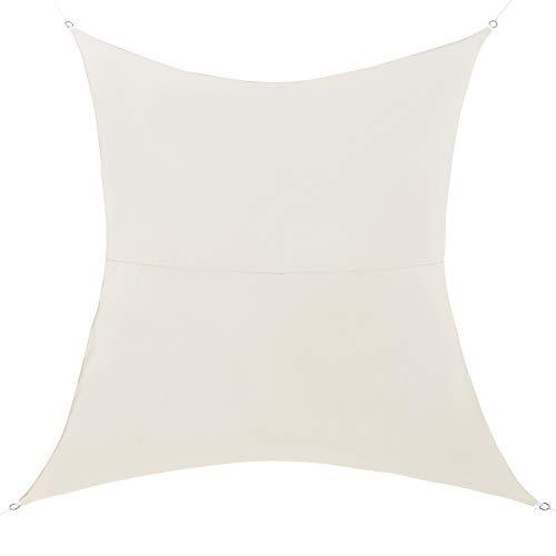 [en.casa] Tenda a Vela Parasole Oscurante Protezione Raggi UV e Vento Impermeabile Rettangolare 4m x 6m Color Sabbia