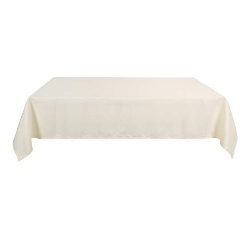Deconovo Leinenoptik Tischdecke Wasserabweisend Tischdecke Lotuseffekt Tischtuch 140x300 cm Beige