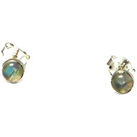 labradorite, forma rotonda, 4mm–orecchini in argento Sterling 925, in confezione regalo (ls1905162)