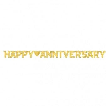 amscan International Banner, mit Aufschrift Happy Anniversary, Großbuchstaben, goldfarben
