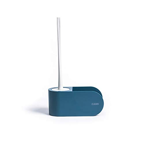 MARUIMR Punch-Free Kunststoff WC-Bürste Kit Rack ohne Tote Ecke Haushalt Bad Langen Griff Pinsel Silikon Reinigung kleinen Kopf Pinsel (Color : Dark Blue) (Haartrockner Ohne Griff)