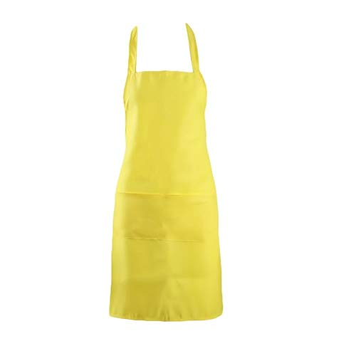 Kochen Küchenschürzen Baumwolle Polyester Mischung Anti-Verschleiß-Küchenschürze Für Frau Kellner Cafe Shop BBQ Friseur Schürzen (Color : Gold Yellow)