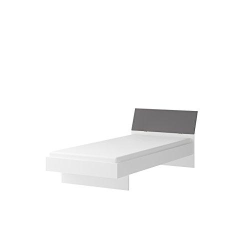 Wellemöbel, Jugendwunder, Bett mit Farbigem Kopfteil, 84154830, Alpinweiß/Vulkangrau
