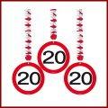 20 Geburtstag Deko Rotorspiralen mit Zahl 20 3er Set Hängende Dekoration zum 20er Geburtstag Party oder andere Anlässe