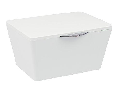Wenko Aufbewahrungsbox, mit Deckel Brasil - Aufbewahrungskorb, Badkorb mit Deckel, 19 x 10 x 15,5 cm, weiß