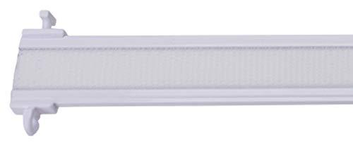 Stylelex Premium Paneelwagen mit Klettband - kürzbar - mit Universal-T-Gleitern für 4 & 6 mm Läufe - weiß aus Aluminium - mit eingefalztem Klettband (60 cm) -