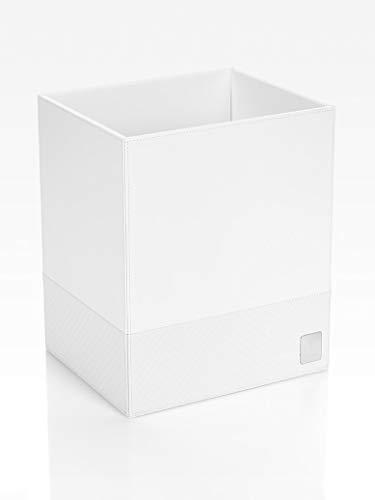 JOOP! Papierkorb bathline Weiß, 25x30x21 cm, Leder Optik mit silberner JOOP! Logo Plakette vorne - Leder-logo-plakette
