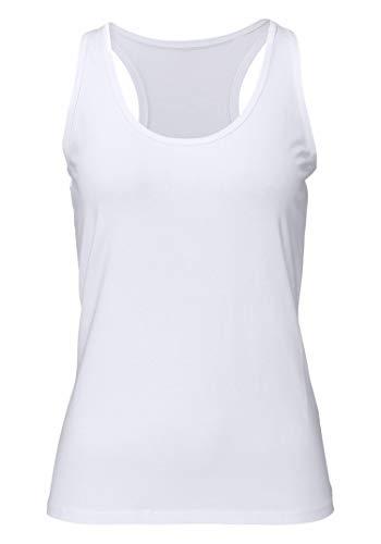 Damen Sporttop Yoga Tanktop Unterhemd Ringerrücken Workout Laufen Fitness Funktions Shirt aus Feinripp mit Rundhals 1er-Pack, L, weiß