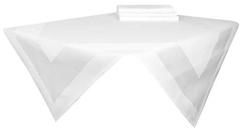 ZOLLNER 4-er Set Mitteldecke Aus Baumwolle, Weiß, Ca. 100x100 cm, Atlaskante