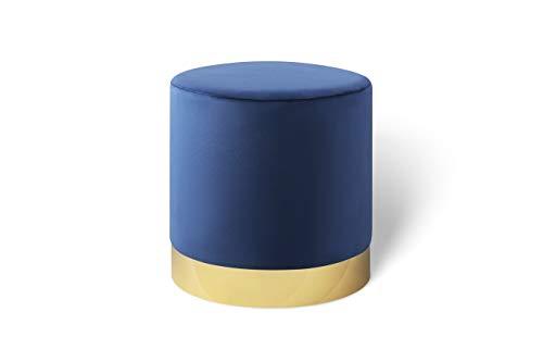 Lifa living pouf poggiapiedi in velluto, sgabello ottomana, puff cilindrico con base oro in metallo, per salotto e camera da letto, blu 38 x 38 cm