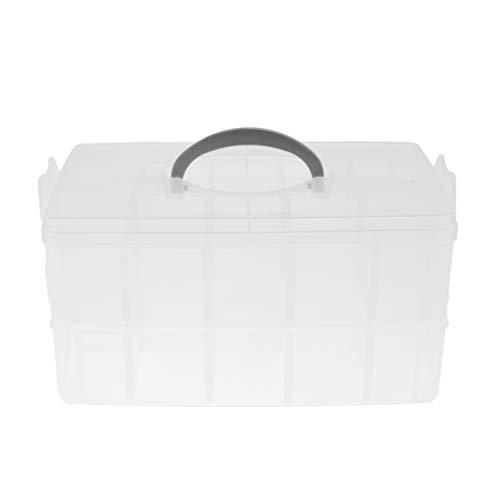 Stapelbar Aufbewahrungsbox aus Kunststoff für die Organisation von Nähfäden, Spulen, Beautyzubehör, Nagellack, Schmuck, Kunst- & Handwerkzubehör - Klar, B -