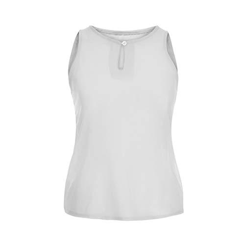 Linkay T Shirt Damen Kurz Chiffon Bluse Tops Spleißspitze Oberteile S-5XL Mode 2019 (Weiß-A, Medium)