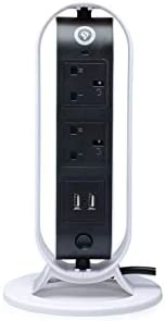 Extension Power Cord Multi Plug Vertical Tower With 5 UK Outlets Socket And 2M Cable Strip, Vertical Rotate De