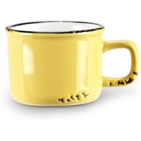 Set di 6pc Giallo ceramica enamel-look Vintage Demitasse Espresso Cups