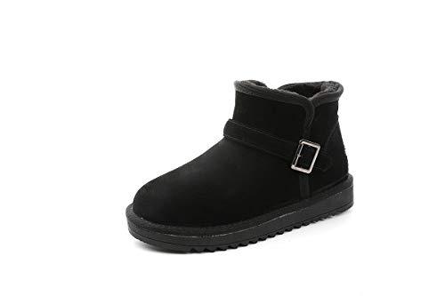 DANDANJIE Snow Boots Paar Winter Rutschfest Classic Mid-Calf Boots Flat Heel Slip-On Ankle Boots für Männer Frauen schwarz,Black,38EU Classic Mid-boot