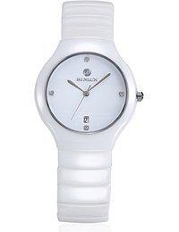 binlun Herren Weiß Ton Keramik Japanisches Quarz-Uhrwerk 30m wasserabweisend Armbanduhr mit Kalender