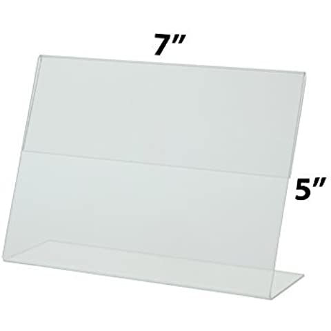 Marketing Holders Sign Holder 7x5 Clear Acrylic Slant Back Counter Top Literature Display Sold in Lots of 20 by Marketing Holders
