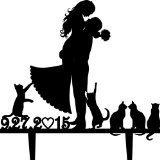 Topper per torta di matrimonio, motivo: sposo e sposa con molti animali, motivo gatti, personalizzata con data, in acrilico, numeri grandi per decorazione di torte;