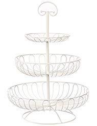 Obst-Etagere von Juvale - 3 Stufen - Dekorativ Obst, Gemüse oder auch Muffins und Cupcakes aufbewahren - Haltegriff zum Einfachen Tragen - Für Haushalt oder Party - Weiß - Metall - 33cm x 33cm