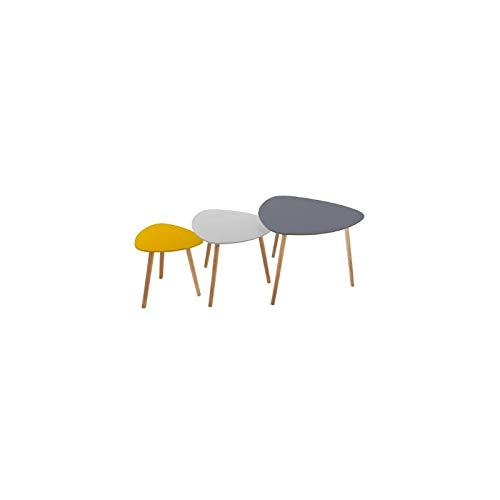 Atmosphera Lot de 3 Tables à café gigognes - Style scandinave - 3 Coloris différents Gris Foncé - Gris Clair et Moutarde