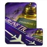 Vorbereitet für Reisen mit Airline Ticket & Reisepass Mauspad & Untersetzer (Airline Ticket)