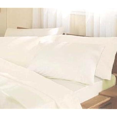 Elizabeth Jayne algodón egipcio de 400 hilos satén Ropa de cama, crema, sábana bajera doble