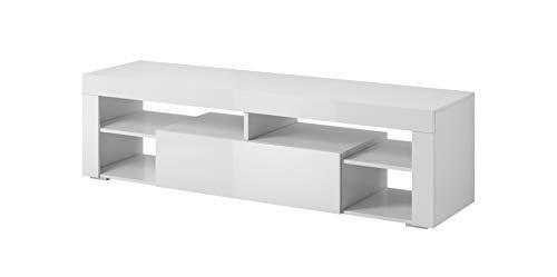 E-com Titan Meuble TV Bas Blanc 140 cm
