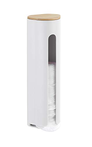 Wenko 23743100 Wattepadhalter Laresa - Wattepad-Spender, 8 x 25 x 6.5 cm, Weiß - Wattepad-spender