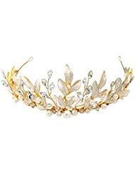 Griechisch/römischen Göttin gold leaf Krone, Perle und Kristall Brautschmuck Hochzeit Tiara Stirnband