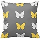 Grey,Yellow, and White Butterfly Throw Pillow Cover For Living Room, Sofa, Etc