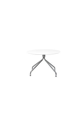 Tenzo 3751-001 Lola Designer Table Basse Blanc/Chrome, Plateau en Panneaux MDF ép. 19 mm laqués, 40 x Ø 60 cm (HxLxP)