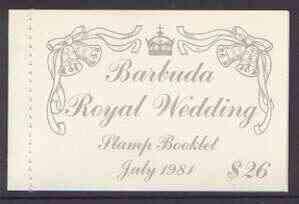 Booklet - Barbuda 1981 Royal Wedding $26 booklet (1st issue) complete and pristine, SG SB3 ROYALTY CHARLES DIANA BELLS JandRStamps -