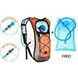 Rucksack Hydration Pack W/2L Wasser Blase. Robuste Leichte Tasche für Laufen, Radfahren, Walking, Camping, Orange