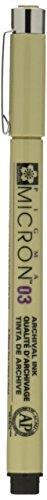 Pigma Micron Pluma 03 Negro 0.35mm - Negro, 1 - Presenta un punto ultrafino que marca permanentemente sin manchas ni desvanecimientos cuando está seco - Ideal para Gráfico Arte, Scrapbooking, a Mano Arte,Caricaturista y Tela Diseño - Archivada en for...