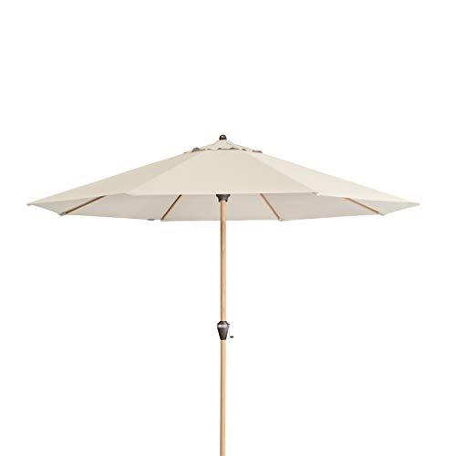 Doppler Alu Wood 350 - Runder Sonnenschirm für Balkon und Terrasse - Moderne Holzoptik - 350 cm - Natur