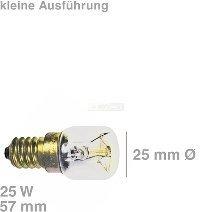 Backofenlampe, Mikrowellenlampe mit Gewinde E14, Glaskörper: 25 mm Ø - Röhrenlampe bis 300° C