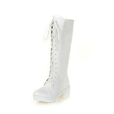 RTRY Scarpe Da Donna In Similpelle Di Moda Invernale Stivali Stivali Chunky Tallone Punta Tonda Mid-Calf Scarponi Per Abbigliamento Casual Bianco Nero US6.5-7 / EU37 / UK4.5-5 / CN37