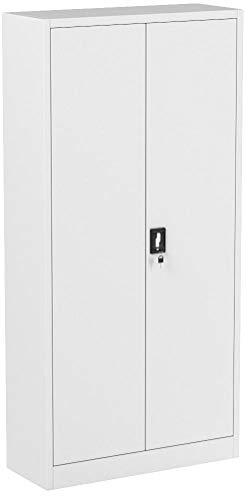 Jan Nowak by Domator24 Büroschrank C001 Aktenschrank Lagerschrank Mehrzweckschrank Metallschrank 4 Fachböden Pulverbeschichtung Stahlblech 185 cm x 90 cm x 40 cm (weiß/weiß)