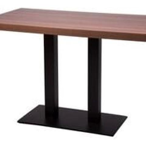 Gorzan Nero Alto cucina tavolo da pranzo in ghisa base piatta Slimline, da, di forma rettangolare e base, Walnut, 1200x800mm