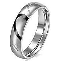 JewelryWe Gioielli Anello da Uomo Donna Acciaio Inossidabile promessa Real Love e Amore Cuore Dipinto Fidanzamento…