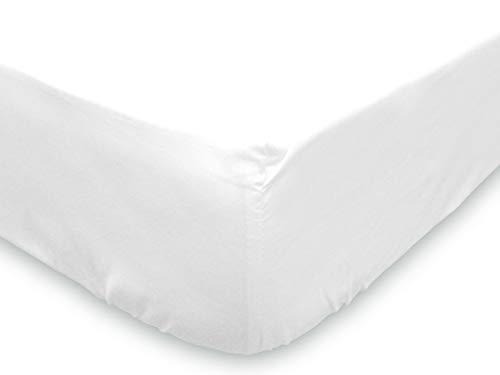 Soleil d'ocre - Sábana bajera lisa de algodón, blanco, 90 x 190...