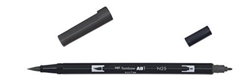 Tombow ABT-N25-1P Fasermaler Dual Brush Pen mit zwei Spitzen, geblistert lamp schwarz