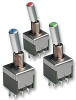 TOGGLE SWITCH, 2POLE, GRN LED M2122TFW01 By NKK SWITCHES -